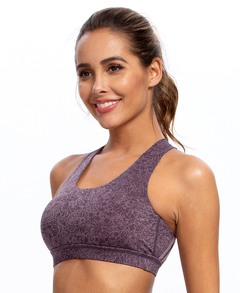 Women's Medium Support Cross Strappy Wirefree Yoga Sport Bra-6017
