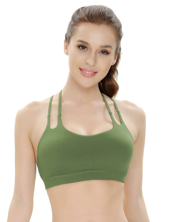 Women's Light Support Double-T Back Wirefree Pad Yoga Sports Bra - 16018--NEW RELEASES