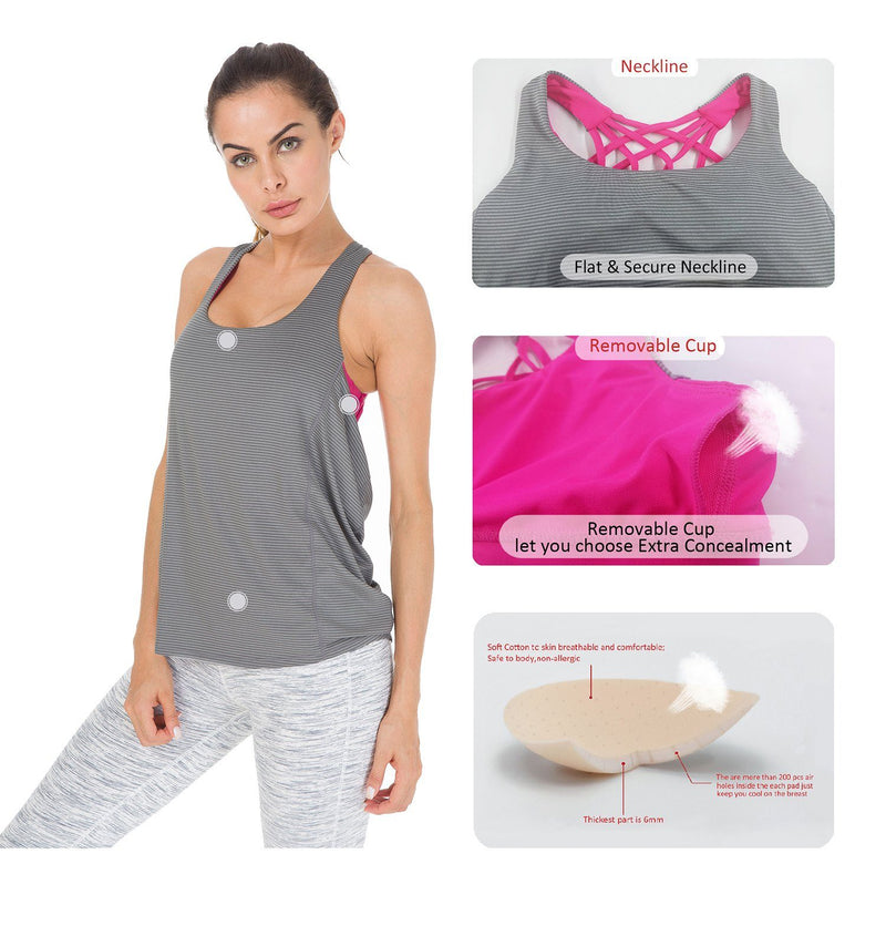 Women's yoga shirts 2 In 1 Criss-Cross Straps Wild Tank Top