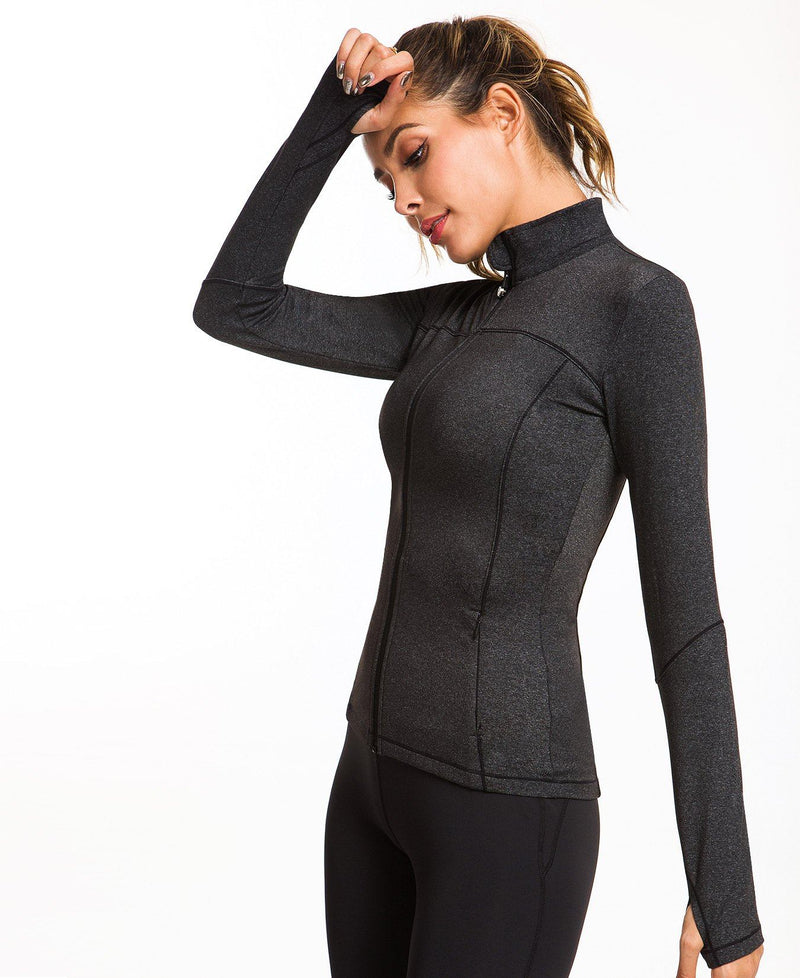 Womens Sports Jacket Turtleneck Slim Fit Full-Zip Running Top - Charcoal Space Dye - 80927