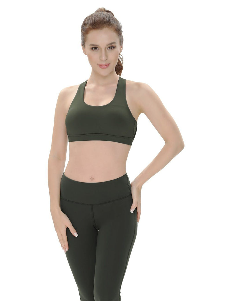 Women's Medium Support Cross Strappy Wirefree Yoga Sport Bra-6017-New Release