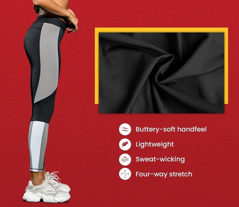 Women Workout Leggings Full-Length Buttery Soft Yoga Pants Running 90327- Grey