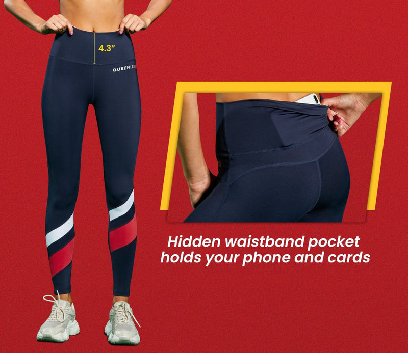 Women Workout Leggings High Waisted Buttery Soft Yoga Pants Running Tights -Blue