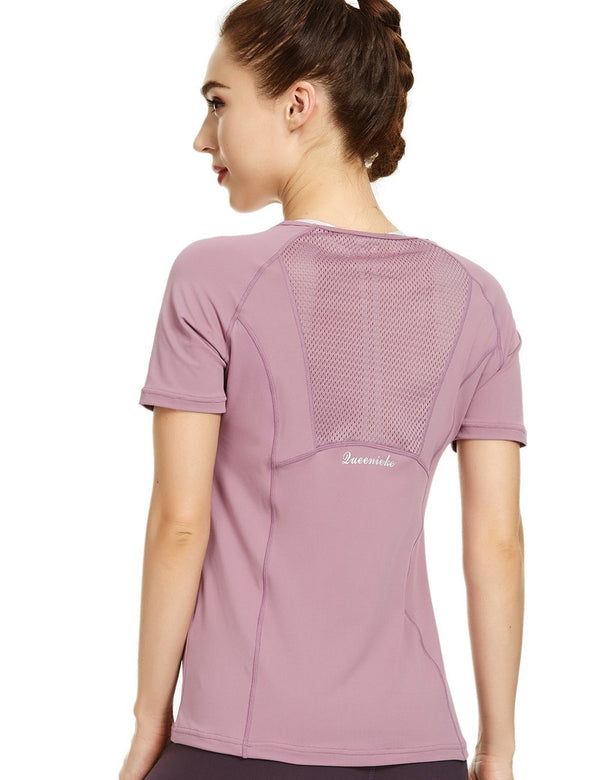 Women Yoga Mix & Mesh T-Shirt Short Sleeve Sports Tee Running Top 19305