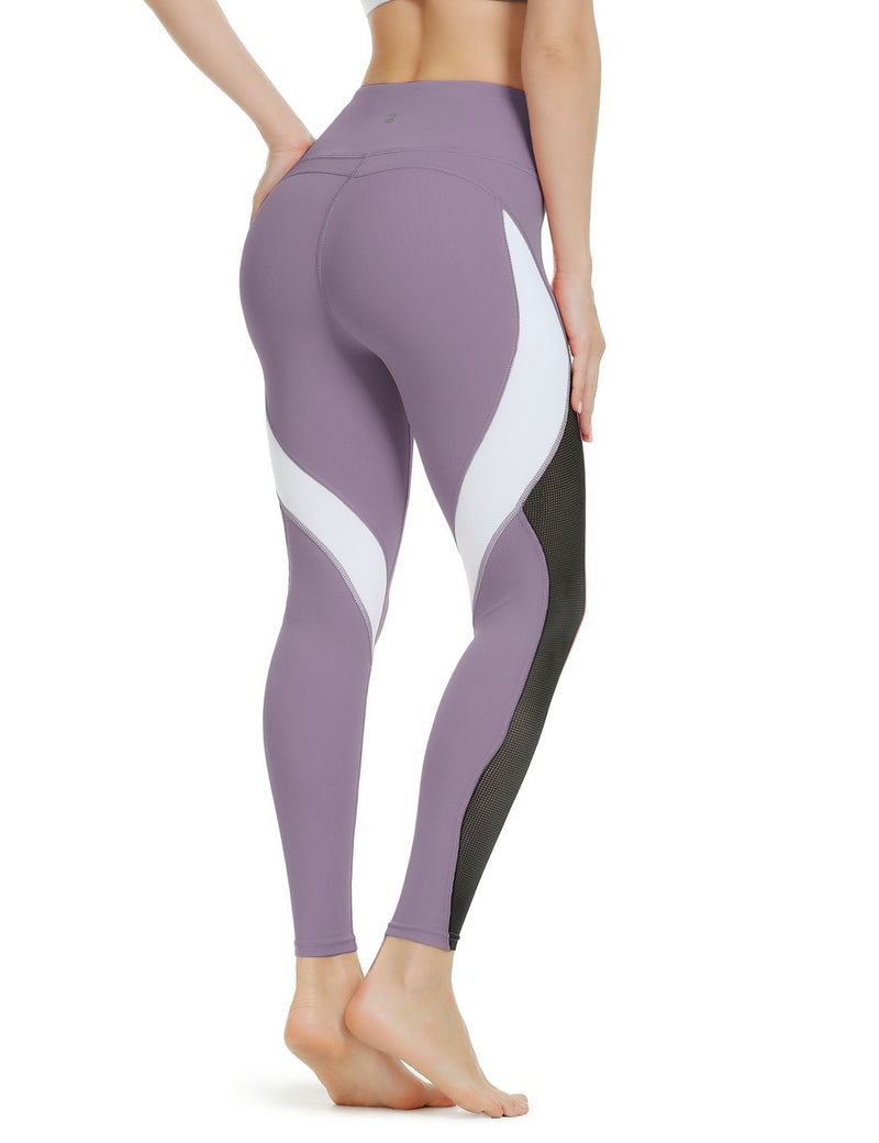Women Yoga Pants Color Blocking Mesh Workout Running Leggings Tights 8030-NEW RELEASE