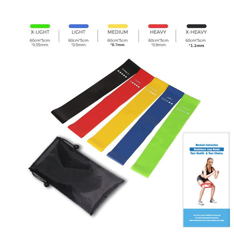 Resistance Loop Exercise Bands with Exercise Cards and Carrying Bag 5 Set - Queenie Ke