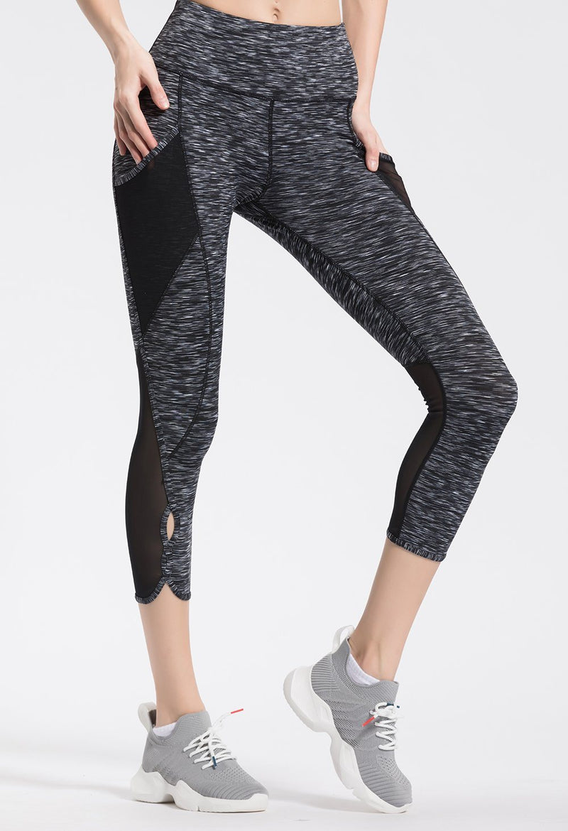 "Women 22"" Yoga Flex Mid-Waist 3 Pocket Running Pants Trousers Workout Tights Legging 70910 - Black Space Dye"