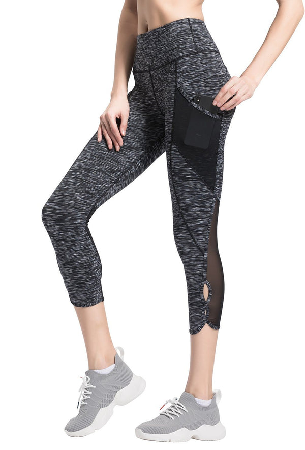 "Women 22"" Yoga Flex Mid-Waist 3 Pocket Running Pants Trousers Workout Tights Legging - Black Space Dye"