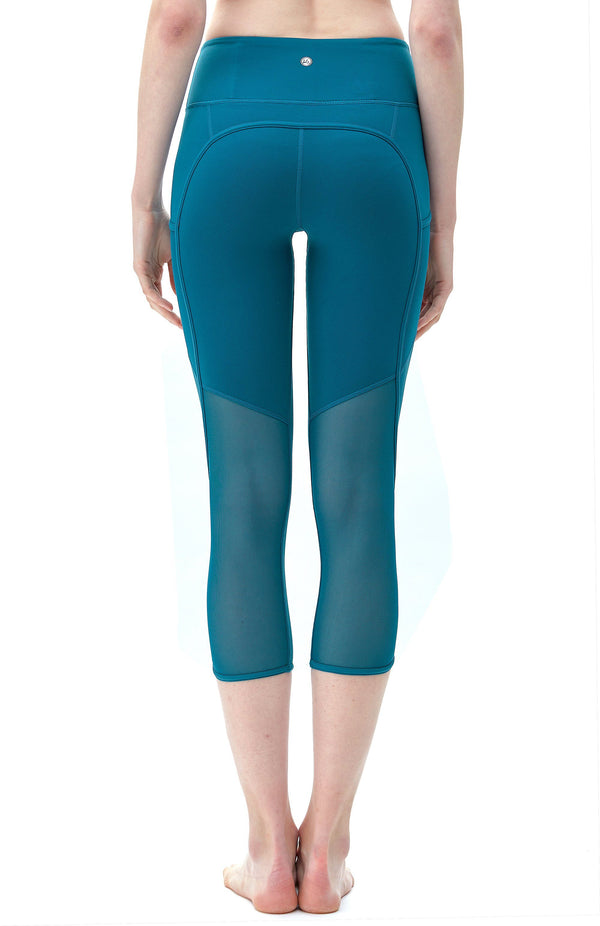 "Women 22"" Yoga Flex Mid-Waist 3 Pocket Running Pants Trousers Workout Tights Legging 70910- Sea Green"