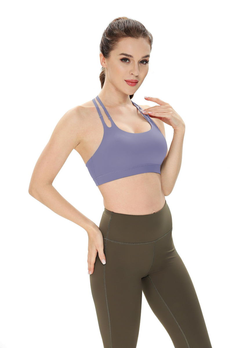 Women's Light Support Double-T Back Wirefree Pad Yoga Sports Bra - 16018