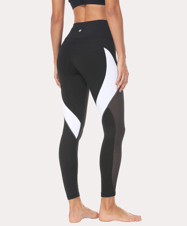Black net color block color yoga pants
