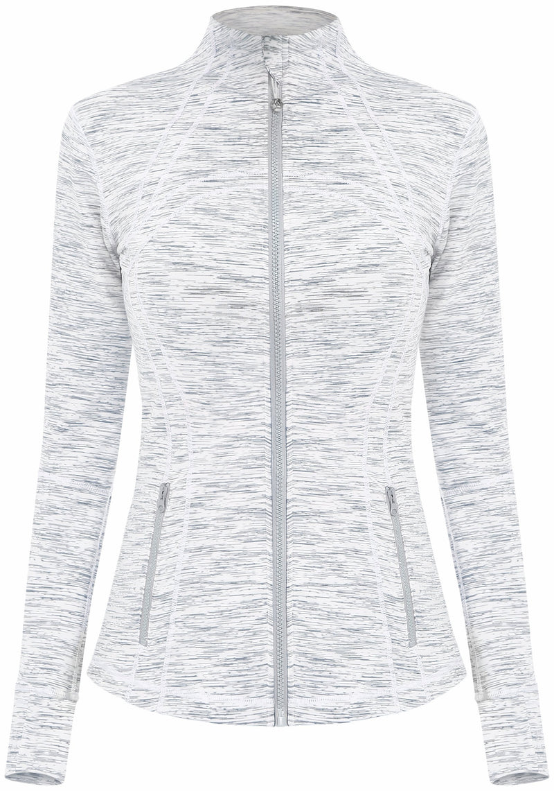 Women's Sports Define Jacket Slim Fit and Cottony-Soft Handfeel - White Space Dye - 60927