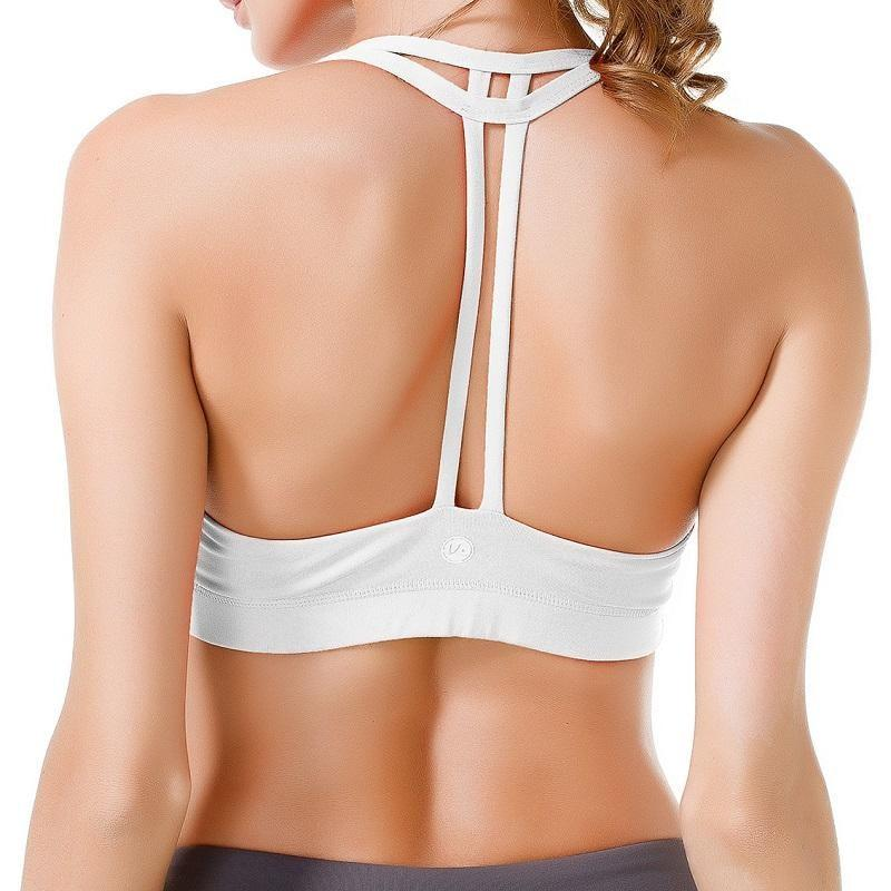 Womens Light Support Yoga Padded Double T Back Sports Bra - Bras