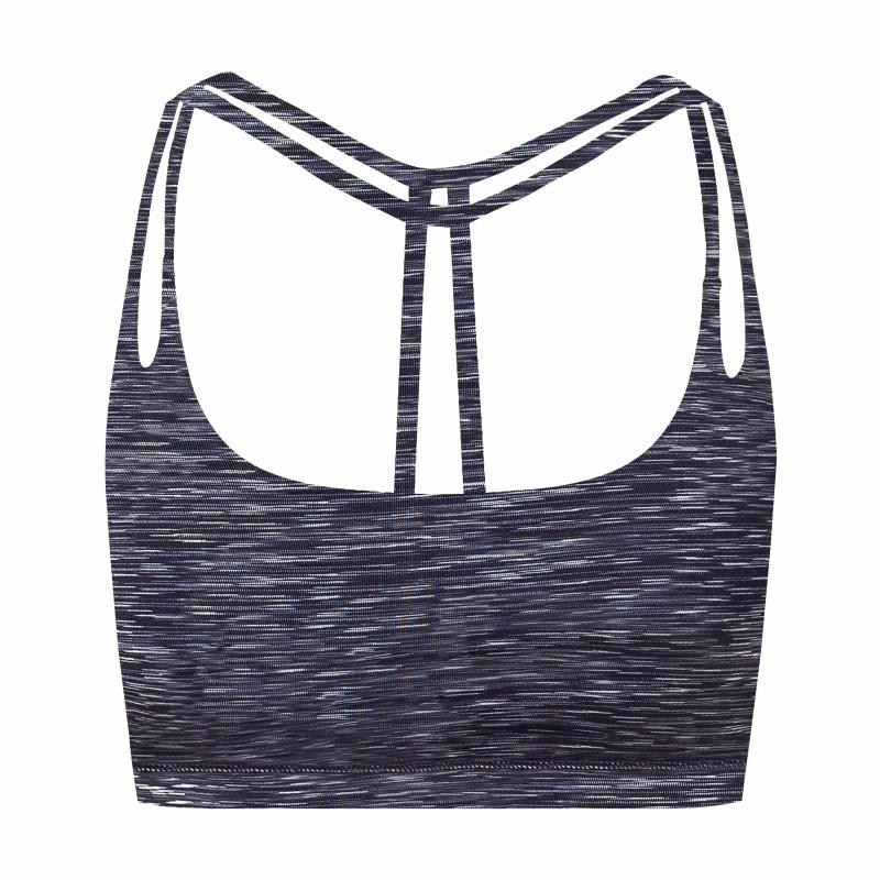 Womens Light Support Yoga Padded Double T Back Sports Bra - Xl / Black Space Dye - Bras