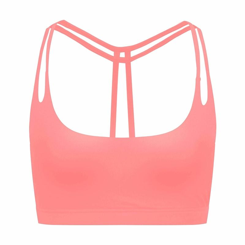 Womens Light Support Yoga Padded Double T Back Sports Bra - Xs / Pink - Bras