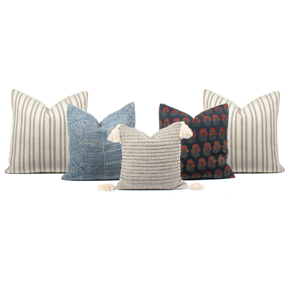 Boho Pillow Combo Blockie Stripes