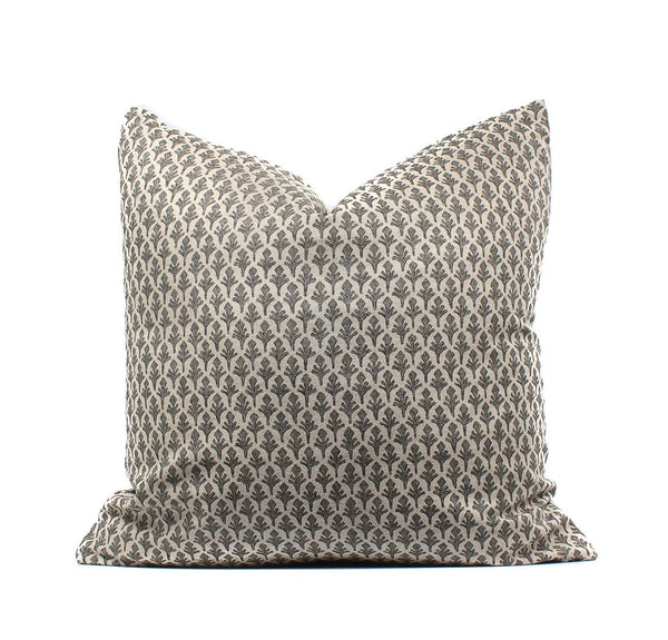 Block Print Leaf Boho Pillow Cover, Black, Natural, SKU041111SH