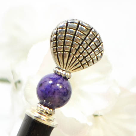"Sold - Hair Stick Seashell, 4.75 inch Purple Silver Beach Hair Pin - ""Mystery"""