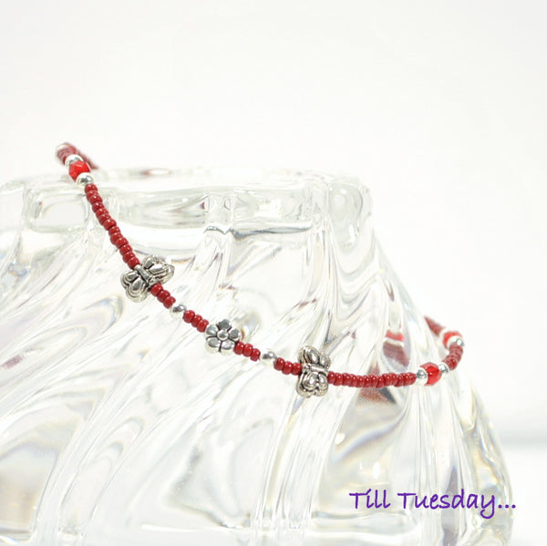 SALE - Red Butterfly Anklet, 9.75 inch - Purple Moon Designs - 1
