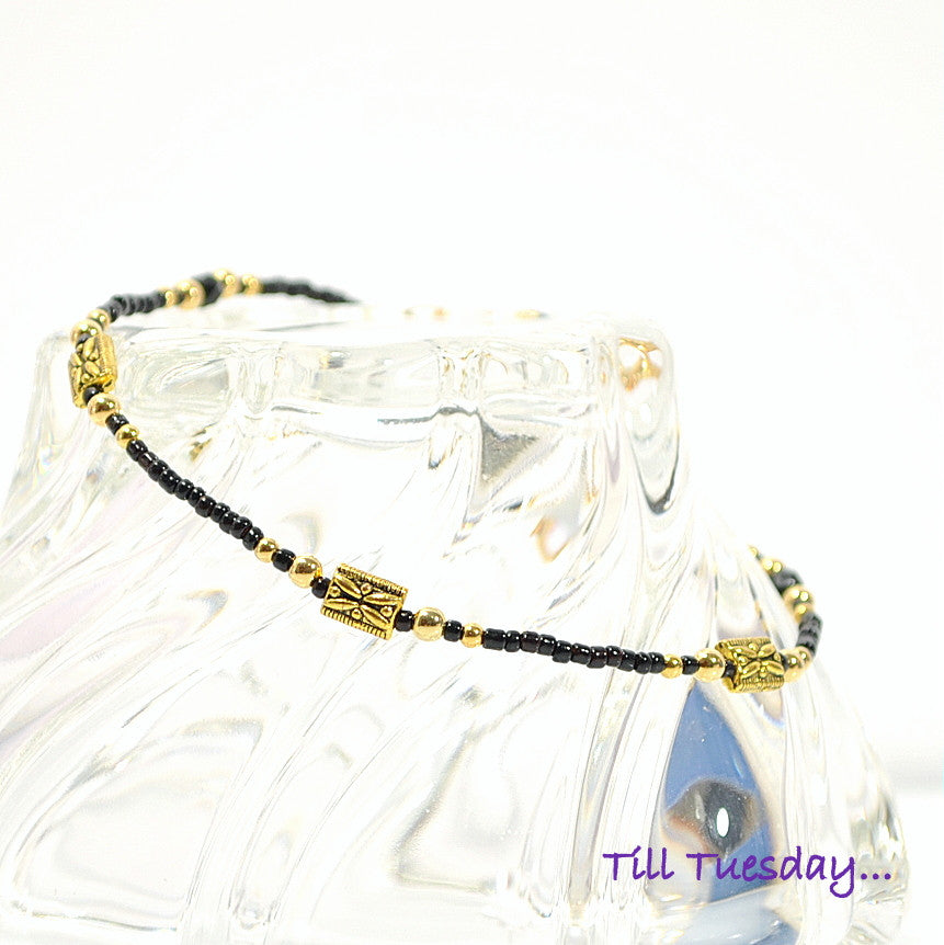 "Black Gold Beaded Anklet, 9.5"" - Purple Moon Designs - 1"
