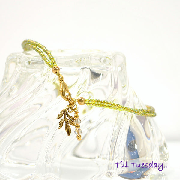 Green Gold Leaf Charm Anklet 10.25 inch - Handmade by Purple Moon Designs