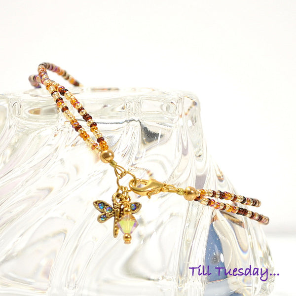 Dragonfly Charm Anklet with Mixed Brown Beads 10 inch - Handmade by Purple Moon Designs