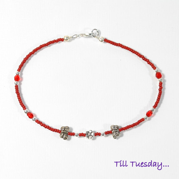 SALE - Red Butterfly Anklet, 9.75 inch - Purple Moon Designs - 3