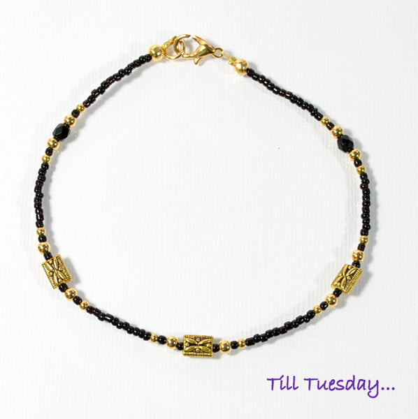 "Black Gold Beaded Anklet, 9.5"" - Purple Moon Designs - 2"