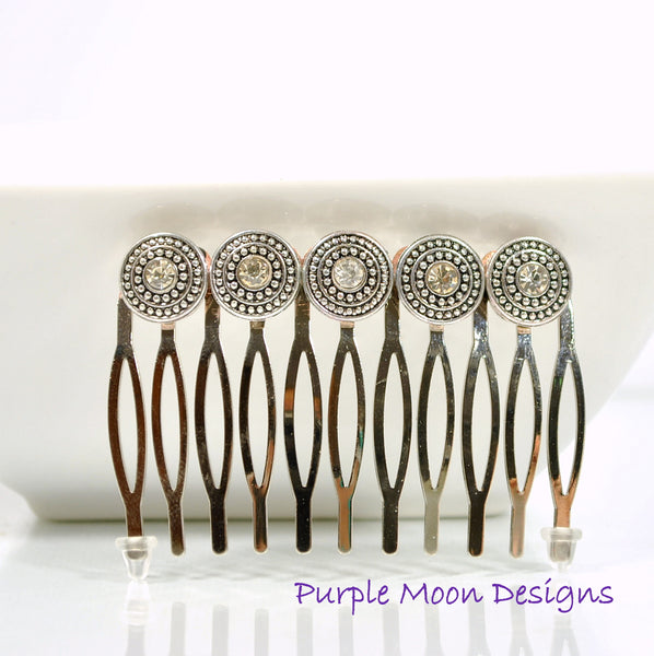 Silver Hair Comb, Metal Hair Slide