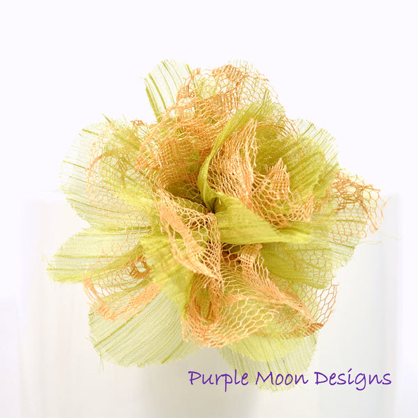 Flower Hair Clip Green Brown Barrette - Handmade by Purple Moon Designs