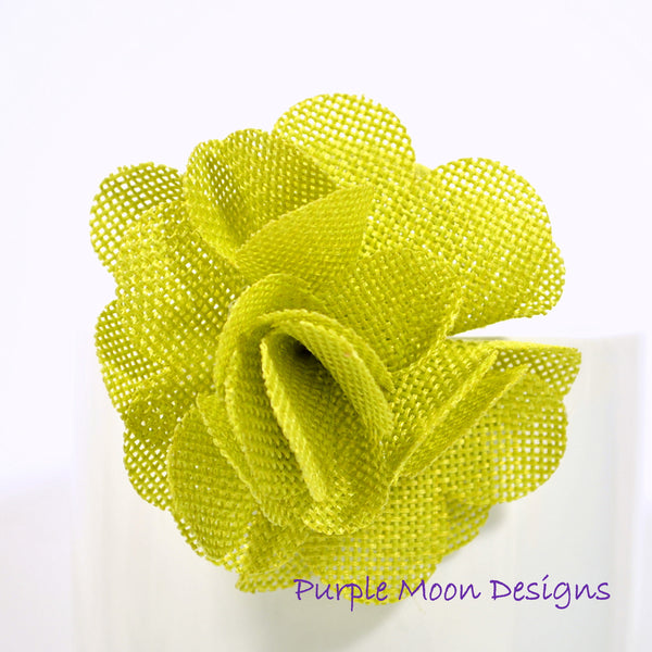 Burlap Flower Hair Clip Green Burlap Barrette