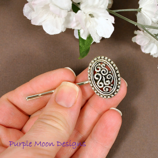 Antiqued Silver Bobby Pin - Purple Moon Designs - 3