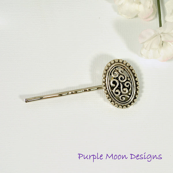 Antiqued Silver Bobby Pin - Purple Moon Designs - 2