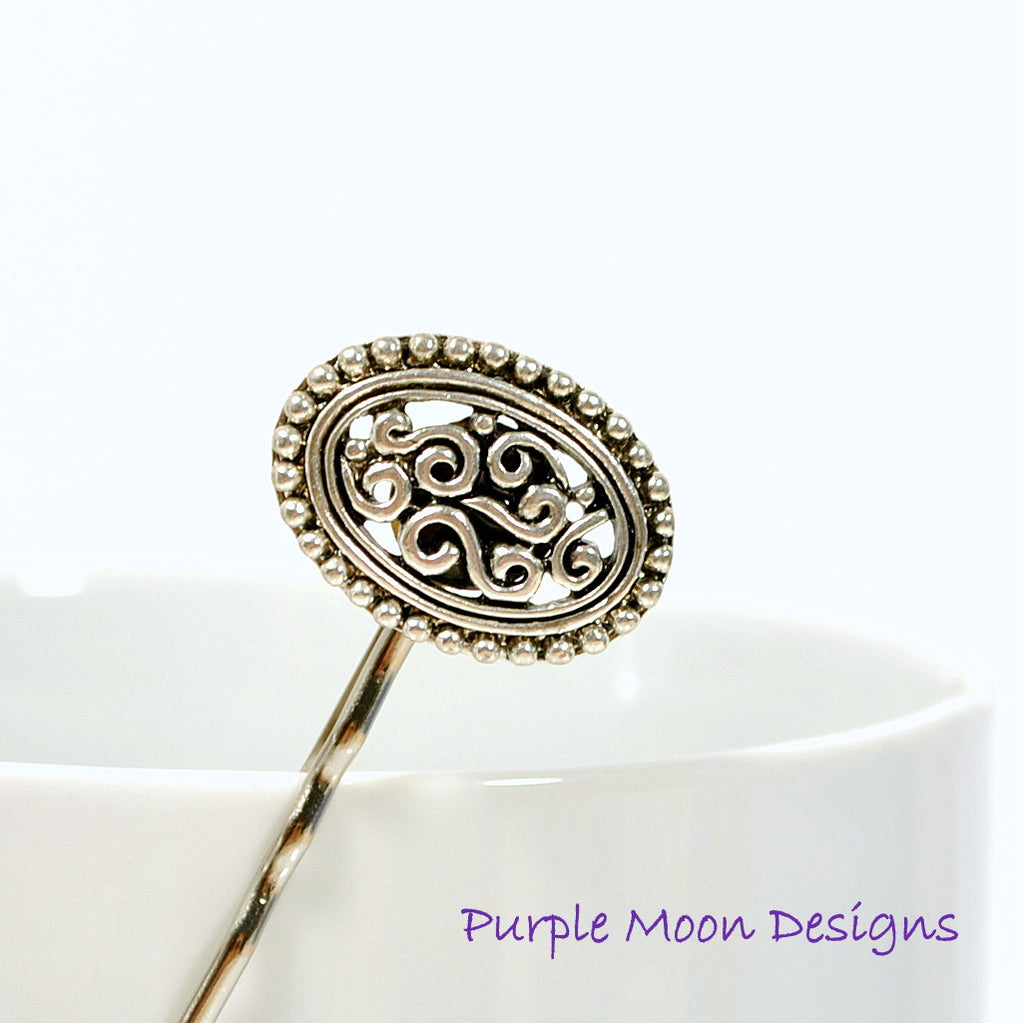 Antiqued Silver Bobby Pin - Purple Moon Designs - 1