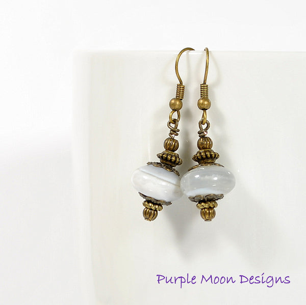 Grey Bronze Dangle Earrings, 1.5 inch - Handmade by Purple Moon Designs