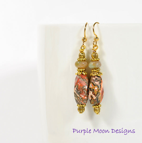Brown Gold Dangle Earrings, Bohemian Earring 2 inch - Handmade by Purple Moon Designs