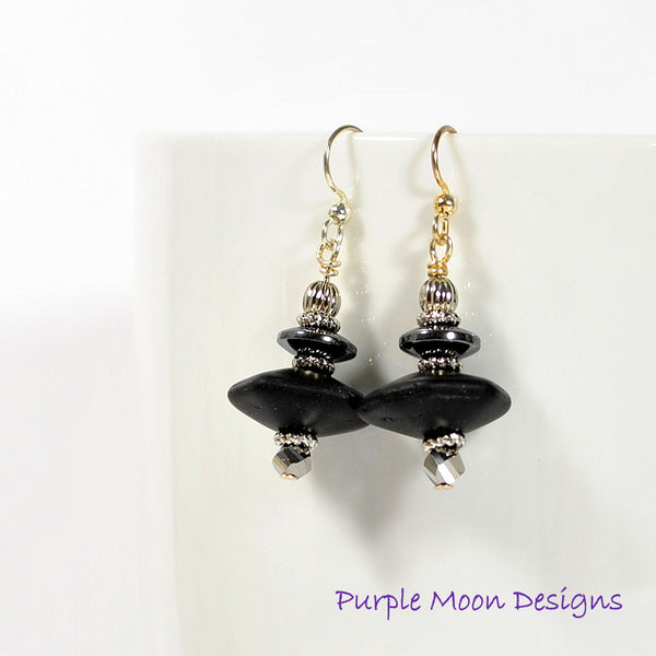 Black Silver Dangle Earrings, Small Drop Earrings - Handmade by Purple Moon Designs