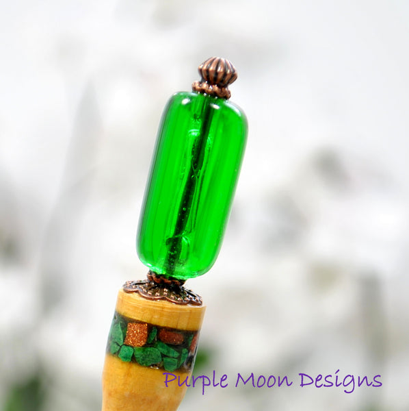 "Green and Copper Hair Stick, 5"" Unique Green Inlay Hair Pin - ""Elegance"""