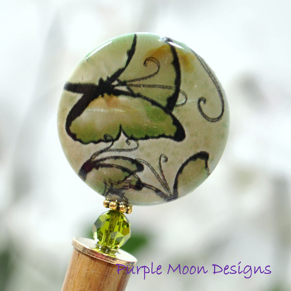 """Calliope"" - Green Butterfly Hair Stick, 5 inch - Purple Moon Designs - 1"