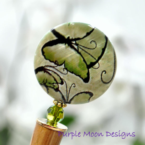 """Calliope"" - Green Butterfly Hair Stick, 5 inch - Purple Moon Designs - 2"