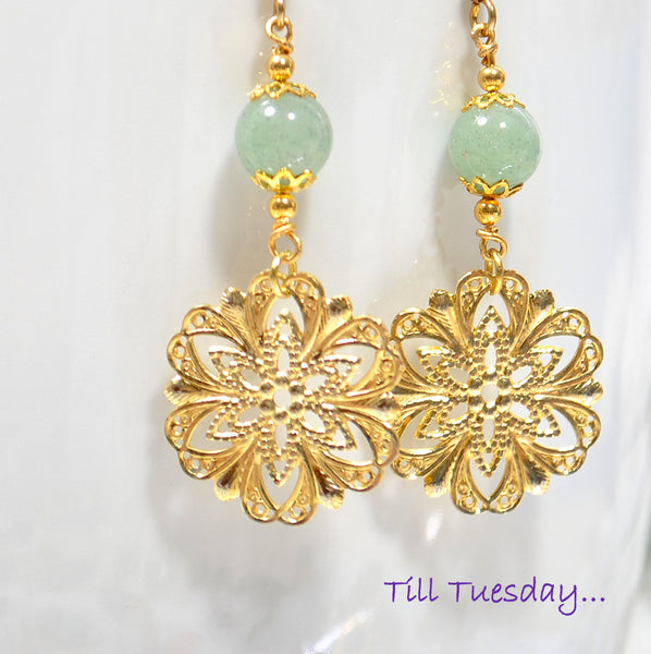 Green Gold Filigree Earrings, 2 inch Dangle Earrings - Purple Moon Designs - 1