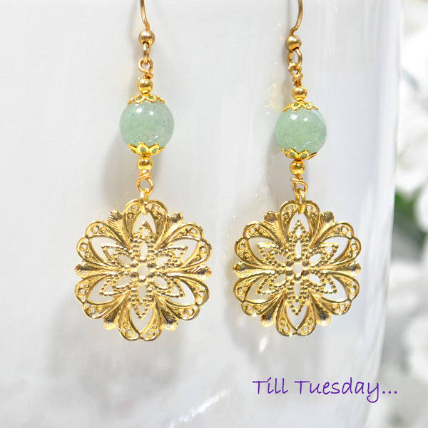 Green Gold Filigree Earrings, 2 inch Dangle Earrings - Purple Moon Designs - 2