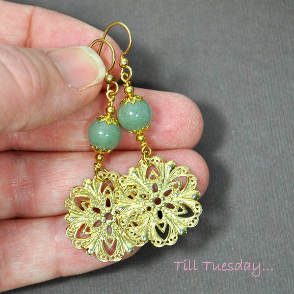 Green Gold Filigree Earrings, 2 inch Dangle Earrings - Purple Moon Designs - 3