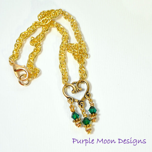 Green Gold Heart Charm Anklet, Love Ankle Bracelet - Purple Moon Designs - 3