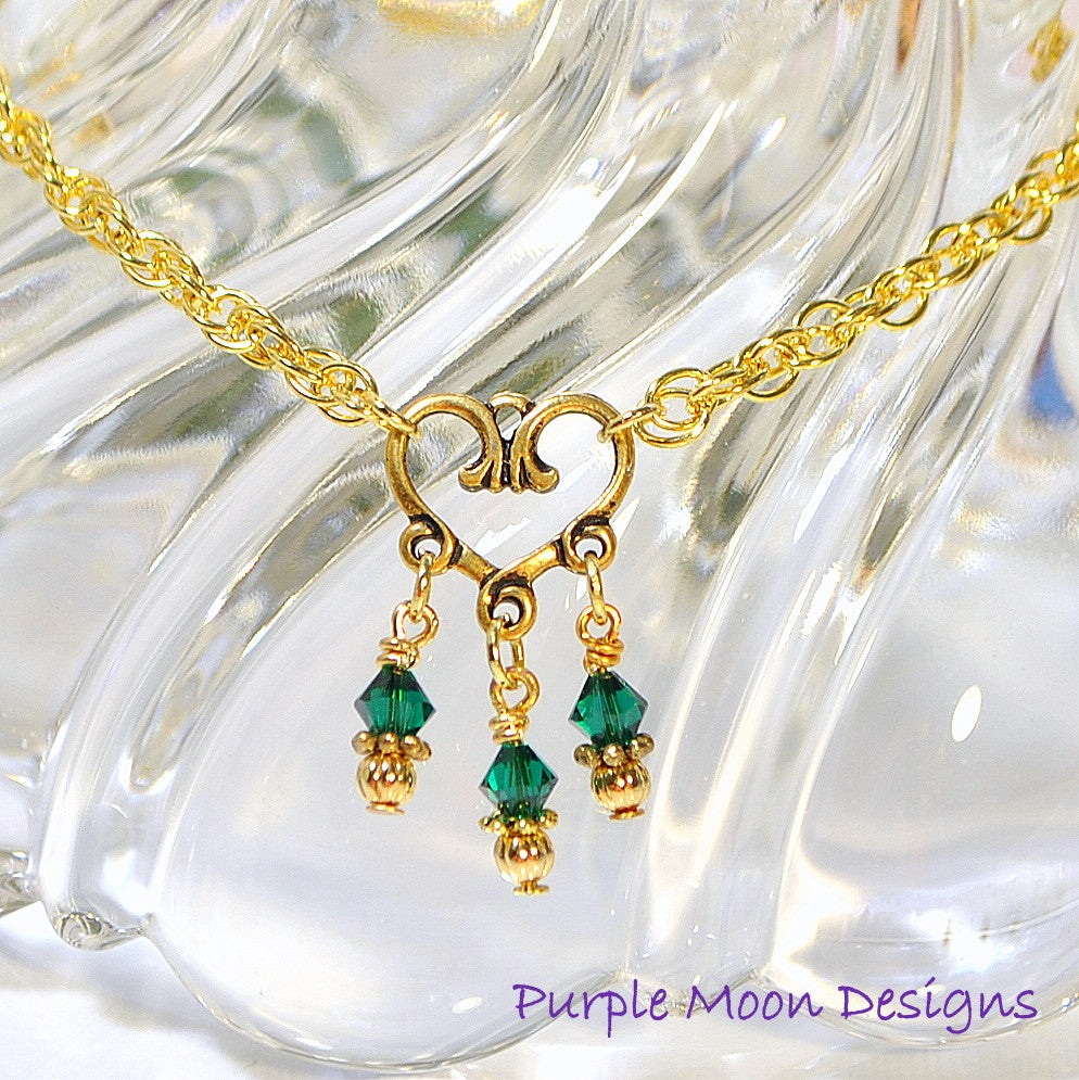 Green Gold Charm Anklet, Love Ankle Bracelet - Handmade by Purple Moon Designs