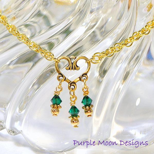 Green Gold Heart Charm Anklet, Love Ankle Bracelet - Purple Moon Designs - 1