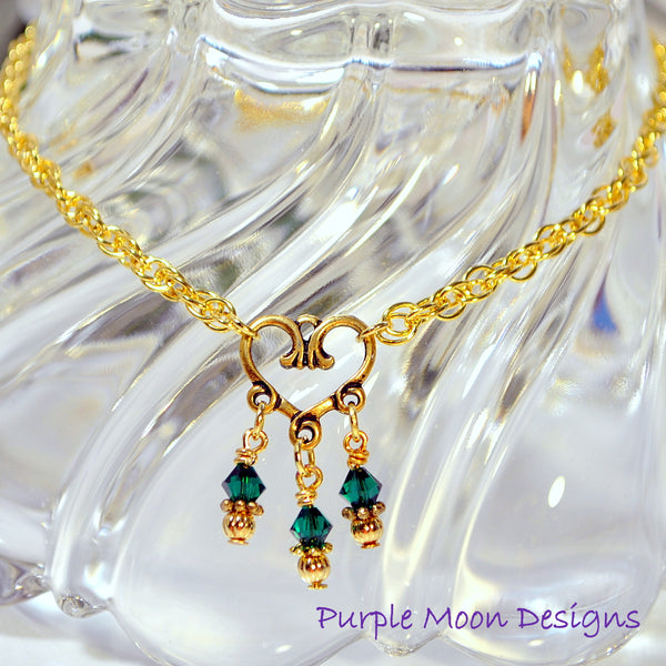 Green Gold Heart Charm Anklet, Love Ankle Bracelet - Purple Moon Designs - 2