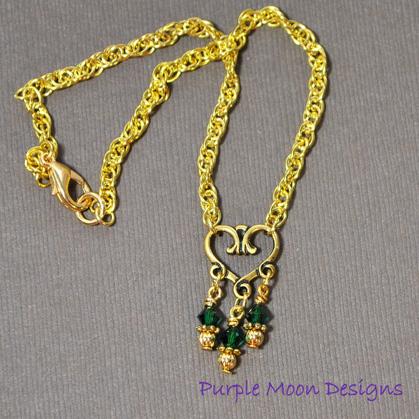 Green Gold Heart Charm Anklet, Love Ankle Bracelet - Purple Moon Designs - 4