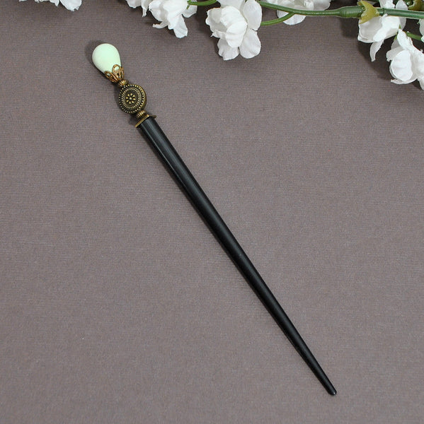 "Pale Green on Bronze Beaded Hair Stick, 4.5 inch Hair Chopstick - ""Playful"" - Handmade by Purple Moon Designs"