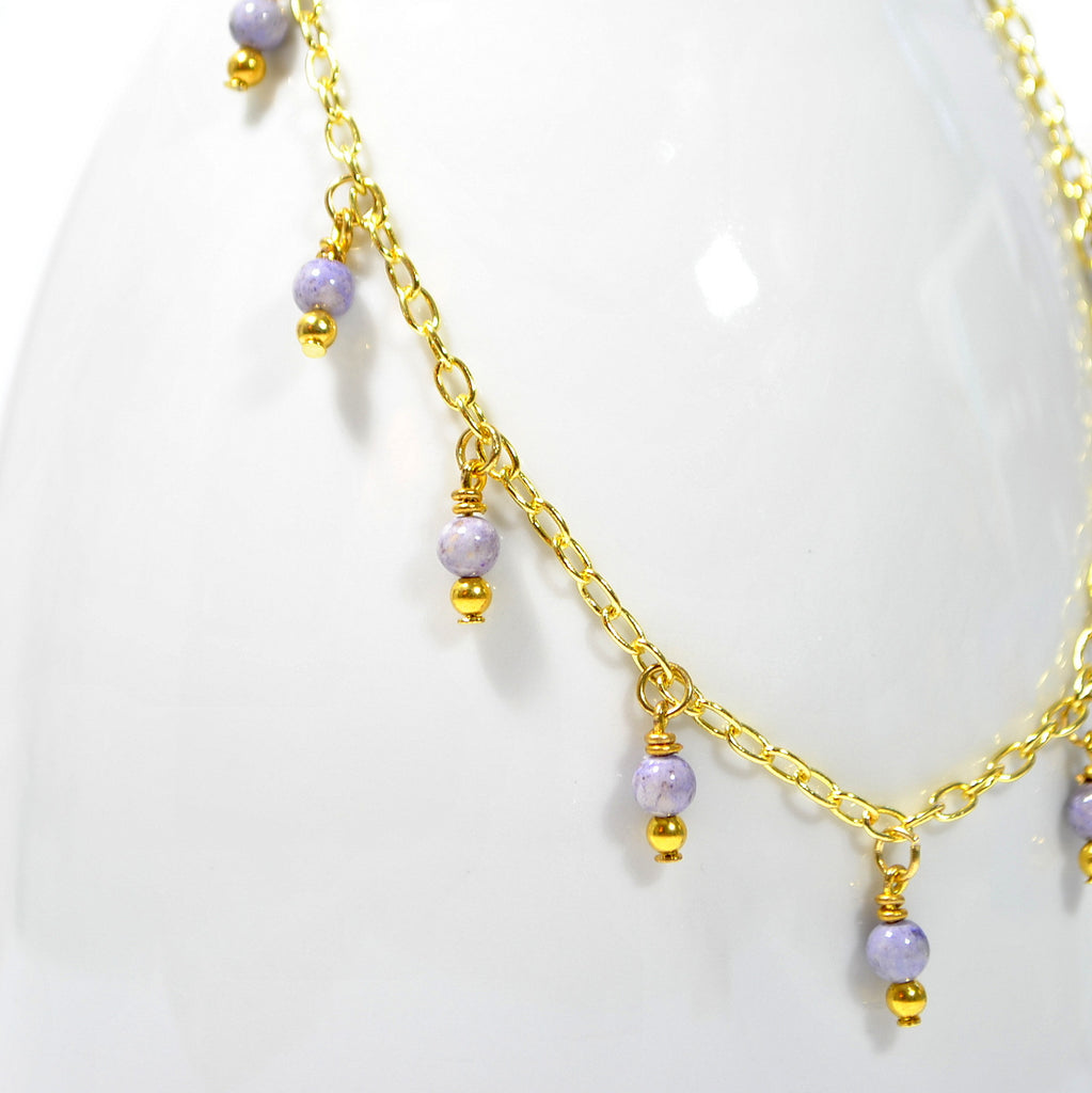 Lavender Stone Beads on Gold Chain Anklet 9.5 inch